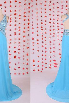 Gorgeous prom dress,blue backless prom dresses,chiffon prom dresses,Evening party dresses,2015 new halter prom dress,sexy prom dress,BD050709