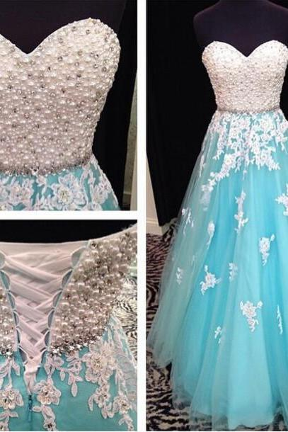 blue prom dress, sweet heart prom dress, lace up prom dress, lace dress, evening dress, rhinestone prom dress, BD245