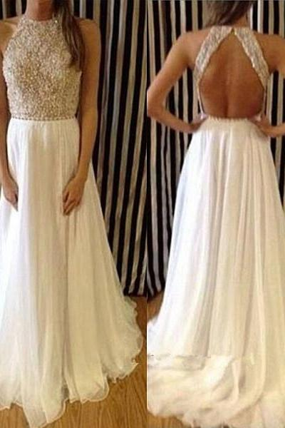 Pretty White Silk Chiffon Long Backless Prom Gowns with Applique and Beadings, Prom Dresses 2016, Formal Dresses, Party Dresses