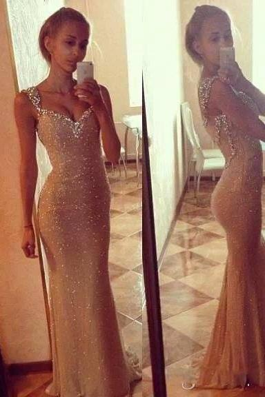 2015 Golden Prom Dress, Sparkly Sequins Party Dress, Mermaid Designer Party Dress, vestido de festa 2015. Sexy Backless Evening Dress
