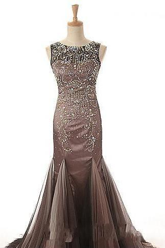 2015 Luxury Crystal Long Mermaid Prom Evening Dresses Designer Cheap Custom Beaded Tank Top vestido de festa Tulle Formal Runway Dress