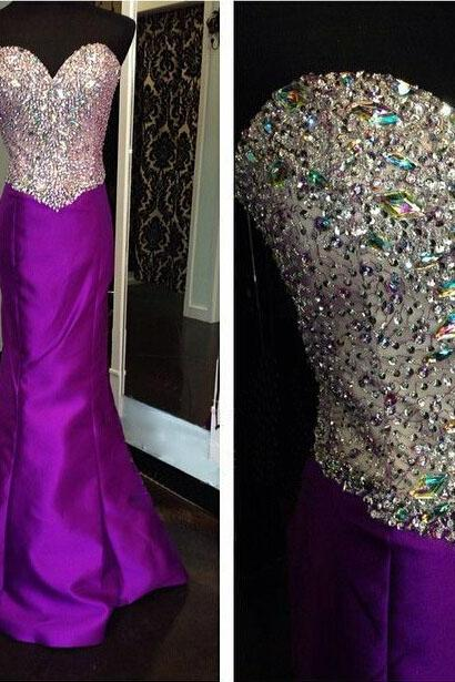 purple sparkly unique sweet heart elegant mermaid handmade evening dress high quality prom dress custom party dress, BD254