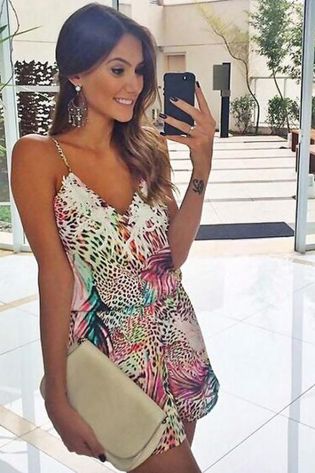 Sexy Women Spaghetti Strap V-Neck High Waist Jumpsuit Backless Print Short Mini Jumpsuit
