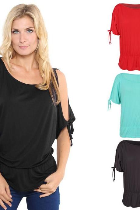 High Quality Fashion Women Casual Off Shoulder Solid Blouse Tops O-Neck Tunic T-Shirt Tops