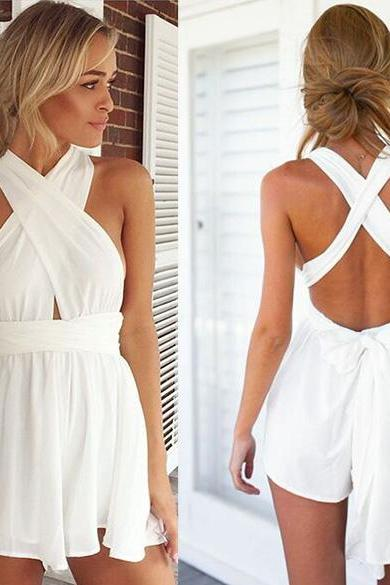 Women Fashion Casual Sexy Back Cross Strap Deep V Neck Sleeveless Backless High Waist Solid Chiffon Jumpsuit