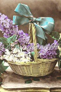 Digital download 300 dpi bowl of lilac French postcard image