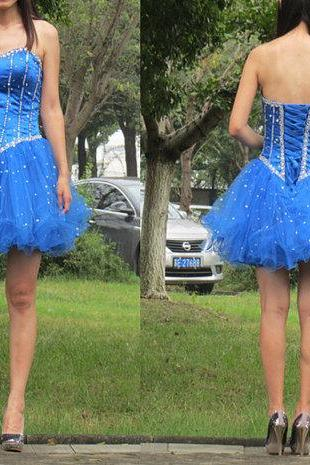 sweetheart prom dress, A-line prom dress, beading prom dresses, bule prom dress, short prom dress,homecoming dress,prom dresses 2015,BD050803