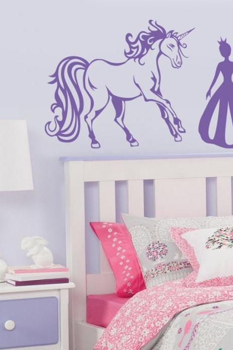 Princess and Unicorn vinyl decal, art stickers for nursery room, Baby Girl decal for wall