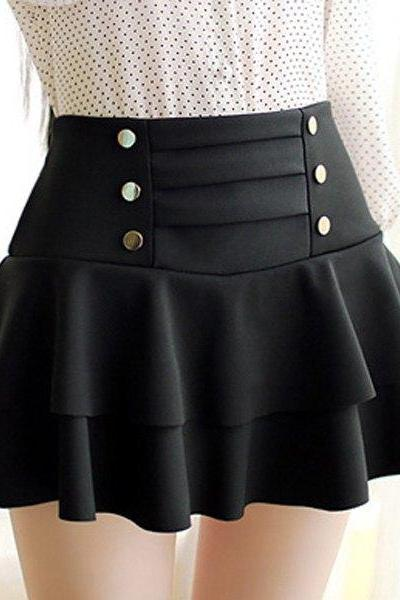 Stylish High-Waisted Multi-Layered Button Design Skirt For Women SD