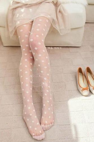 Sweet Retro Style Dot Jacquard Pattern Silk Stockings For Women SD
