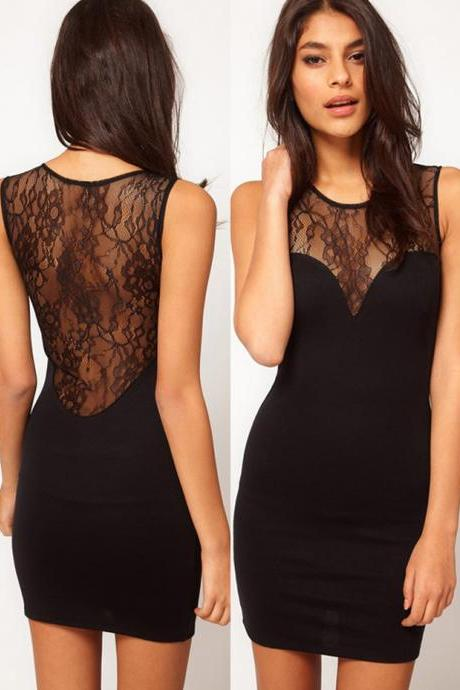 Sheer Lace Back Sweetheart Sleeveless Dress