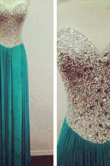 green prom dress, sweet heart prom dress, rhinestone prom dress, formal prom dress, sparkly prom dress, evening dress, BD262