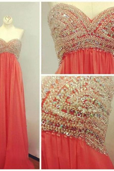 coral prom dress, sweet heart prom dress, beading prom dress, charming prom dress, sparkly prom dress, evening dress, BD263