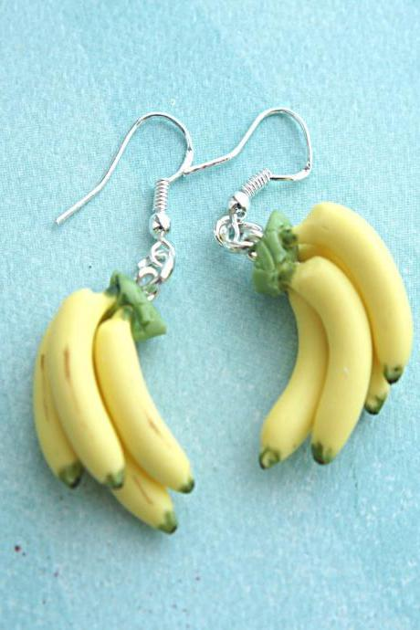 Banana bunch earrings - Food jewelry