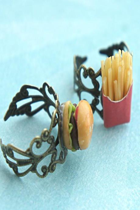 burger and fries bff ring
