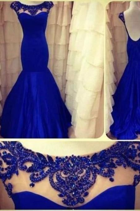 Royal Blue Long Mermaid Sheer Prom Party Dresses 2015 Plus Size Sexy Backless Pageant Woman Evening Dress For Runway