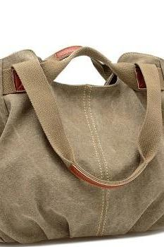 Beige Canvas Handbag Tote Bag Hobo Woman Handbag