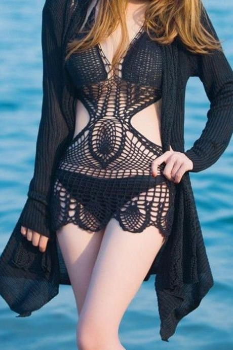 Sexy New Summer Women Bikini Cover Up Crochet Beach Swimsuit Monokini Mini Dress