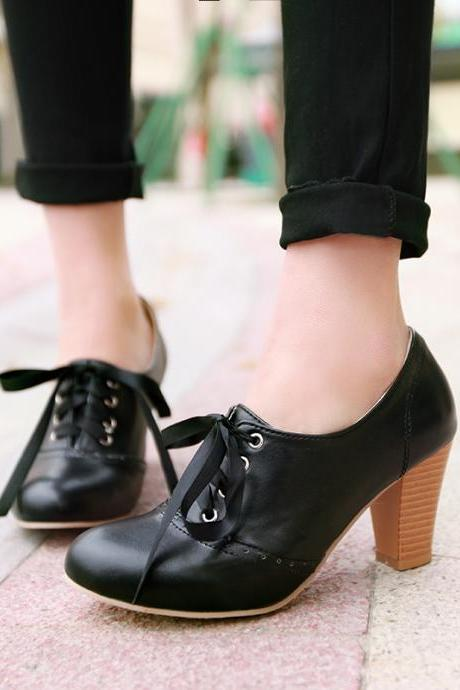 Women's Punk Pointed Toe Lace Up Platform Block High Heels Ankle Boots Shoes Black