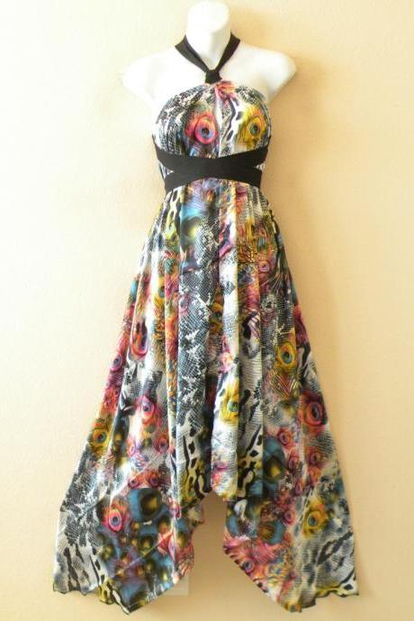 1D89 Multicolor Versatile Silk Multi Wear Scarf Long Maxi Halter Dress Maternity
