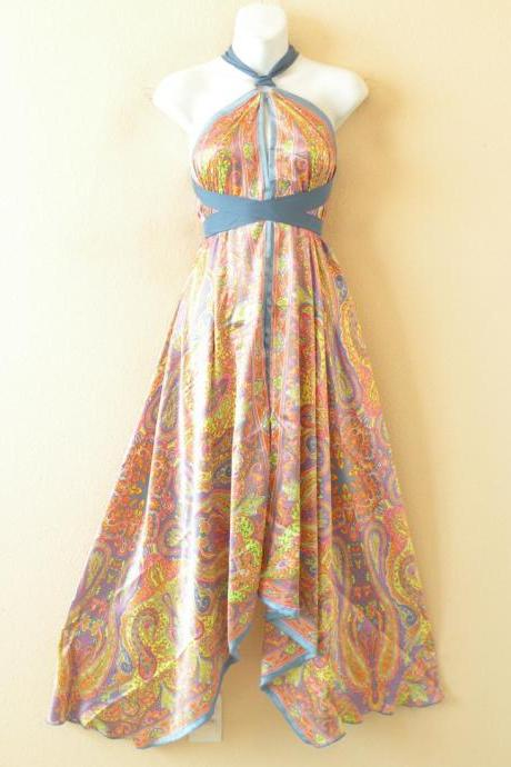 1D102 Multicolor Versatile Silk Multi Wear Scarf Long Maxi Halter Dress Maternity