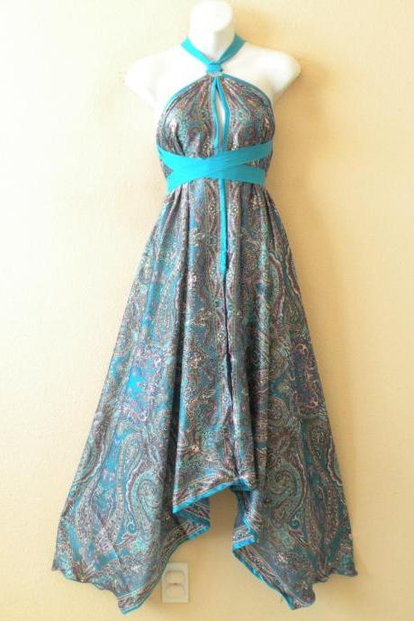 1D90 Aqua Versatile Silk Multi Wear Scarf Long Maxi Halter Dress Maternity
