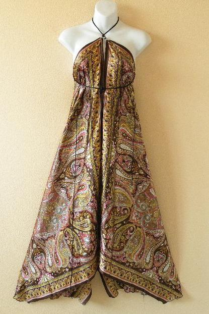2D98 Versatile Silk Multi Wear Scarf Long Maxi Halter Dress Maternity