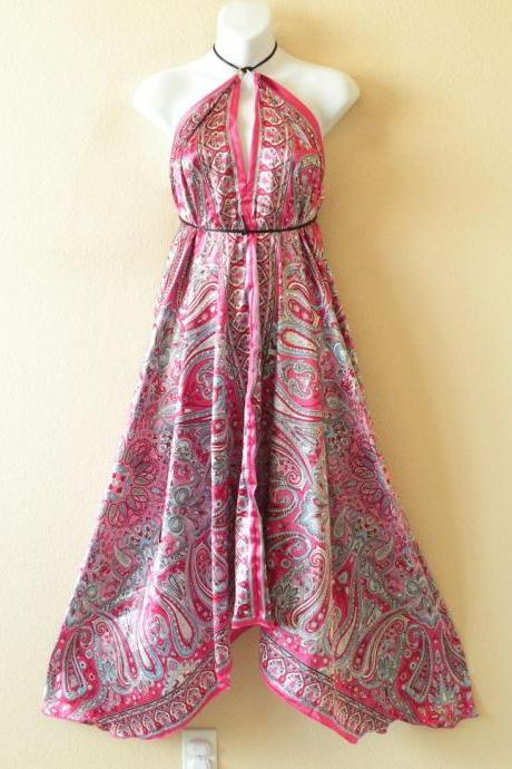 2D66 Pink Versatile Silk Multi Wear Scarf Long Maxi Halter Dress Maternity