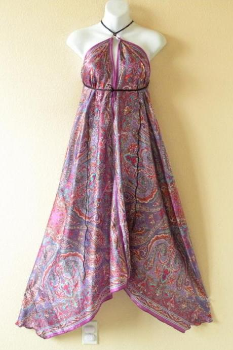 2D36 Purple Versatile Silk Multi Wear Scarf Long Maxi Halter Dress Maternity