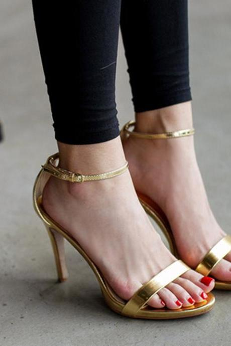 Metallic Open-toe Fine Ankle-strap Stilettos