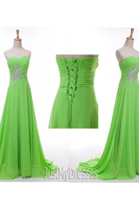 Green Long Dress A Line Sweetheart Sleeveless Chiffon Beaded Bridesmaid Dress Beaded Prom Dress Evening Formal Gowns Party Dress