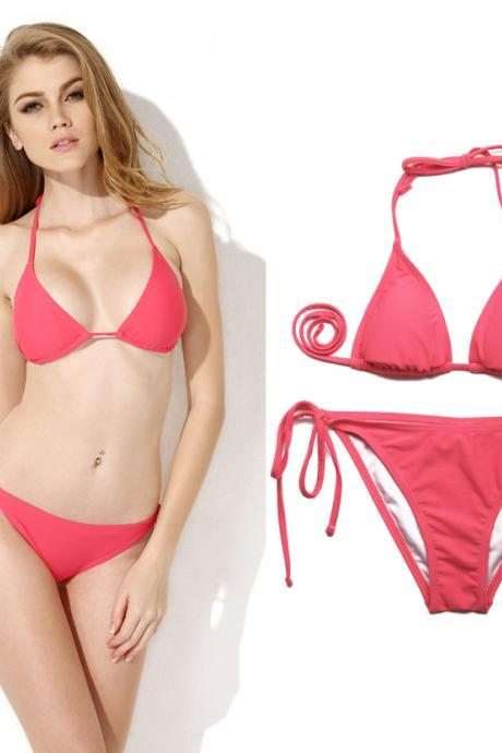 Push up bikini Watermelon Red Triangle Top with Classic Cut Bottom bikini set 2015