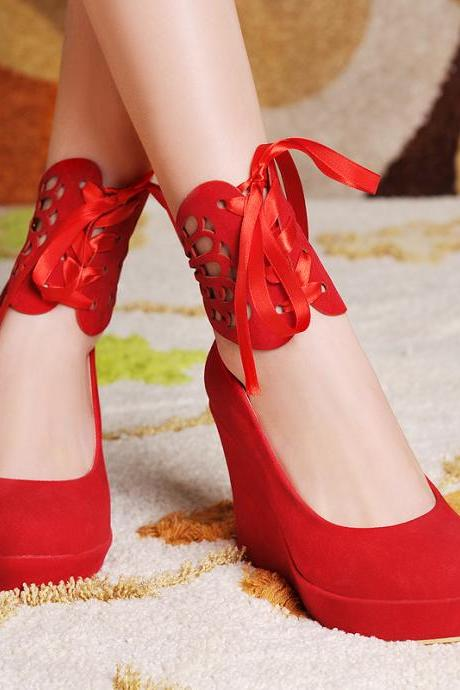 Women's Round Head Suede Candy Color Platform Wedge Ankle Strap Lace Up Shoes F4