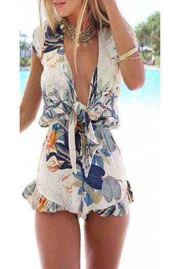 Sexy Short Sleeve V Neck Flouncing Printed Rompers