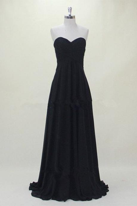 Black Chiffon Sweetheart Floor Length A-Line Formal Dress, Prom Dress