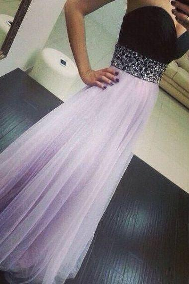 black prom dress, sweet heart prom dress, lilac prom dress, floor-length prom dress, evening dress, modest prom dress, BD265