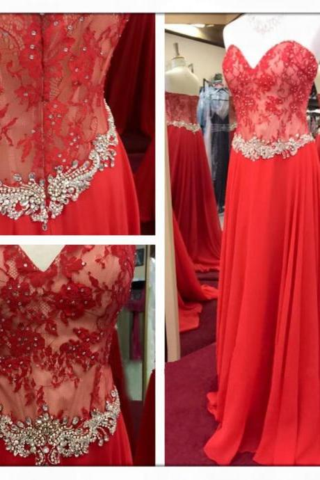 lace prom dress, red prom dress, prom gown, cheap prom dress, elegant prom dress, sweet heart prom dress, BD269
