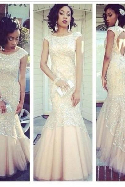 Champagne Elegant Evening Dresses,2015 Mermaid Party Dresses,Cap Sleeve backless Lace Tulle Long Women Dreses with Beads
