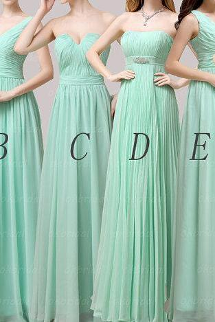 Bridesmaid Dresses, Mint Bridesmaid Dresses, Long Bridesmaid Dresses, Chiffon Bridesmaid Dress, Bridesmaid Dresses