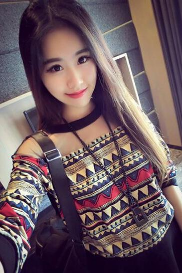 Printed Temperament Stitching Loose Round Neck Long-Sleeved T-Shirt