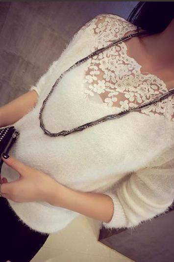Stitching Lace Collar Mohair Sweater