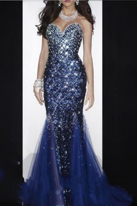 Navy Blue Crystal Luxury Mermaid Prom Party Dresses 2015 Plus Size Tulle Mermaid Designer Cheap Sexy Backless Formal Evening Dress