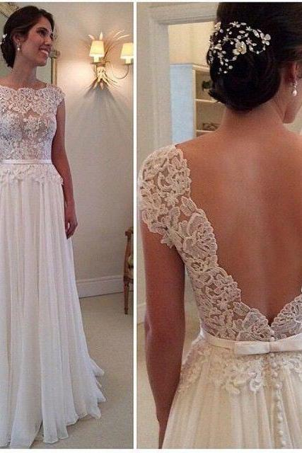 Ivory Chiffon Cap Sleeves Lace Bodice Prom Dress With Open Back