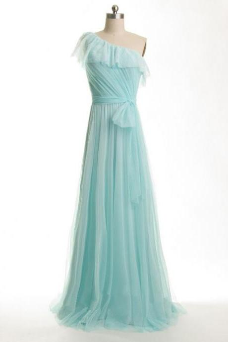Tiffany blue Bridesmaid Dresses, one shoulder Bridesmaid Dresses, Long Bridesmaid Dresses, cheap Bridesmaid Dresses, CM515