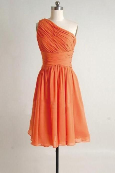 One shoulder Bridesmaid Dresses, simple Bridesmaid Dresses, orange Bridesmaid Dresses, cheap Bridesmaid Dresses, grey bridesmaid dress, CM518