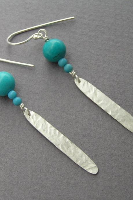 Dangle Earrings - Turquoise & Silver Feather Earrings - Drop Earrings - Long Leaf Earrings - Sterling Silver