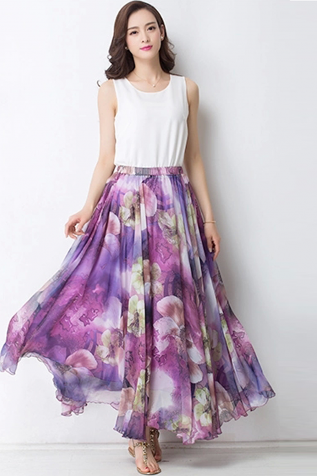Summer Chiffon Floral Lightweight Boho Summer Beach Maxi Skirt Bridesmaid Dress