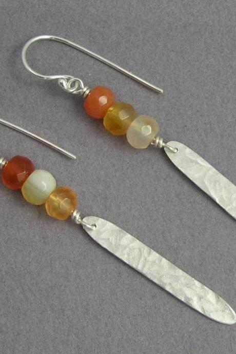 Dangle Earrings - Carnelian & Silver Feather Earrings - Drop Earrings - Long Leaf Earrings - Sterling Silver
