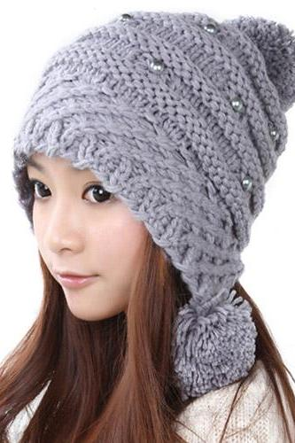 Free Shipping Lovely Female Winter Hat Knit Wool Cap - Grey