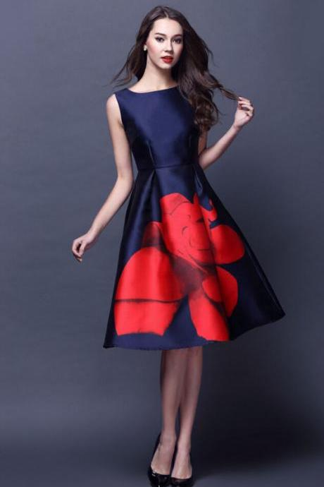 Womens Elegant OL Floral Long Evening Party Pleated Slim Dress